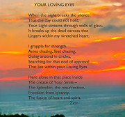 Sunset Posters Mixed Media Posters - Your Loving Eyes 4 Poster by Debra     Vatalaro