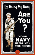 Wwi Mixed Media Metal Prints - Your Navy Needs You This Minute Metal Print by War Is Hell Store