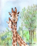 Giraffes Paintings - Youre In My Way by Arline Wagner