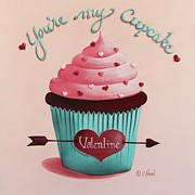 Cupcake Paintings - Youre my Cupcake Valentine by Catherine Holman