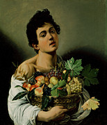 Michelangelo Painting Metal Prints - Youth with a Basket of Fruit Metal Print by Michelangelo Merisi da Caravaggio