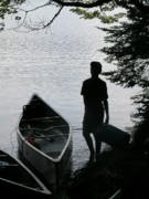 Adirondack Lake Prints - Youth with Canoe Print by Jim DeLillo