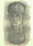 Self-portrait Drawings - Youthful Self Portrait by Willoughby  Senior