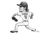 Pitcher Drawings Framed Prints - Yu Darvish Framed Print by Darrell Fitch