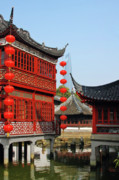 Red Buildings Prints - Yu Gardens - A Classic Chinese garden in Shanghai Print by Christine Till