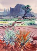 Sisters Paintings - Yucca and Buttes by Donald Maier