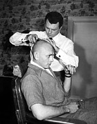 1956 Movies Framed Prints - Yul Brynner Getting Shaved By Makeup Framed Print by Everett