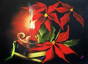 Xmas Paintings - Yule Candle Glow by Joni McPherson