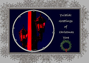 Lamp Posts Prints - Yuletide Greetings Print by DigiArt Diaries by Vicky Browning