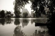 Travel China Posters - Yulong River, Yangshuo, China Black And Poster by Keith Levit