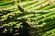 Salad Prints - Yummy Asparagus Print by Connie Cooper-Edwards