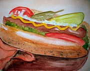 Tomatos Painting Metal Prints - Yummy Chicago Dog Metal Print by Carol Grimes