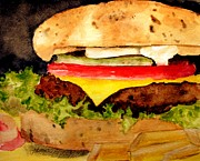 Fries Paintings - Yummy Hamburger by Carol Grimes