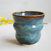 Coffee Ceramics - Yunomi Tea Cup - Blue Brown Glaze - Handmade Ceramic Pottery Ribbed Cup by Sheila Corbitt