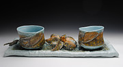 Coffee Ceramics - Yunomis and Trout Lilies  by Mark Chuck