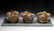 Brook Ceramics - Yunomis with Trout Lilies  by Mark Chuck