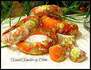 Floral Ring Jewelry - Yuzen Floral  Design Bangles and knuckleKnocker Rings by Kathleen Othon