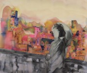 Landscape Tapestries - Textiles Prints - Z and The City Print by Carolyn Doe