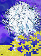 Deep Think Digital Art - Zag Puzzle by Debra     Vatalaro