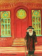 Jewish Paintings - Zaidas  Shul by Carole Spandau