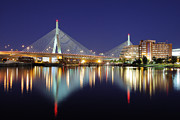 Charles River Art - Zakim Aglow by Rick Berk