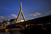 Night Photographs Posters - Zakim Bridge and Boston Garden at Sunset Poster by Rick Berk