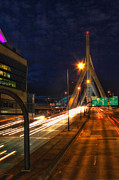 Interstates Posters - Zakim Bridge at Night Poster by Joann Vitali