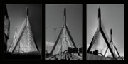 Zakim Framed Prints - Zakim Memorial Bridge Triptych Framed Print by Joann Vitali