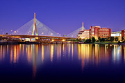 Skyline Photography Framed Prints - Zakim Twilight Framed Print by Rick Berk