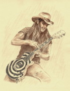 Colored Pencil Drawings Posters - Zakk Wylde Poster by Kathleen Kelly Thompson