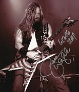 Signed Photo Posters - Zakk Wylde playing Dimes gift Poster by Charles Johnson Jr