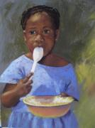 Mission Pastels Framed Prints - Zambia Girl with Yellow Bowl Framed Print by Sandra Ortega