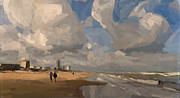 Netherlands Paintings - Zandvoort Beach by Nop Briex