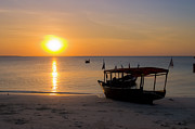 Exotic Fish Prints - Zanzibar Boat at Sunset Print by Darcy Michaelchuk