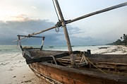 Fishing Boat Sunset Framed Prints - Zanzibar Boat Framed Print by Nian Chen