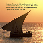 Fishing Boat Sunset Posters - Zanzibar Dhow Message Print Poster by TB Sojka