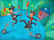 Jugglers Framed Prints - Zanzzini Brothers Framed Print by Autogiro Illustration