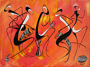 Masai Paintings - Zaramo Dance Series by Abu Mwenye