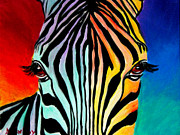 Animal Painting Prints - Zebra - End of the Rainbow Print by Alicia VanNoy Call