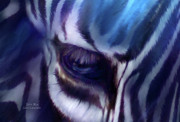 Animal Art Giclee Prints - Zebra Blue Print by Carol Cavalaris