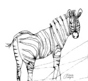 Zebra Digital Art - Zebra Doodle by Arline Wagner