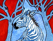 Zebra Paintings - Zebra Gone Wild by Connie Valasco