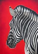 White Painting Metal Prints - zebra in African sun Metal Print by Ilse Kleyn