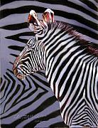 Featured Painting Metal Prints - Zebra Metal Print by John Lautermilch