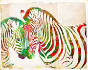 Veterinary Digital Art Prints - Zebra Lovin Print by Nikki Marie Smith