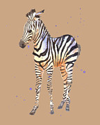 Zoo Animals Paintings - Zebra on Mocah by Alison Fennell
