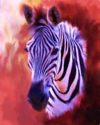 Wild Animal Paintings - Zebra Portrait by Jai Johnson