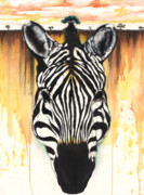 Black Artist Mixed Media Posters - Zebra Rooted Ground Poster by Anthony Burks