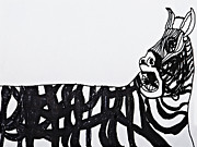 Scared Drawings Posters - Zebra Poster by Stephanie Ward