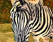 Tribal Art Paintings - Zebra Stripes by Miriam  Schulman